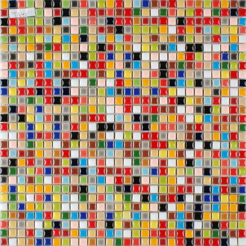 Multi Color Porcelain Tile Kitchen Floor Small Chips Glazed