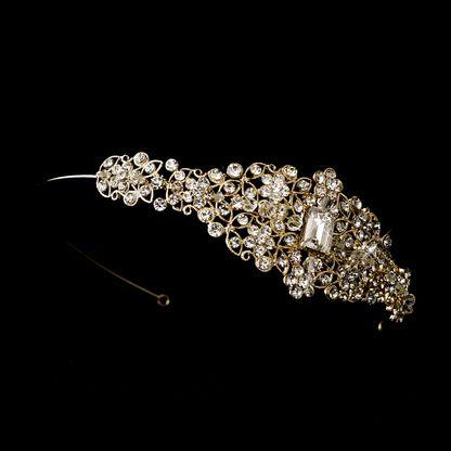Gold Crystal Side Accent Bridal Headband