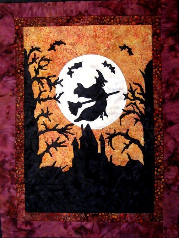 Halloween Quilt Wall Hanging Witch Fiber Art Applique By CinfulArt 12500