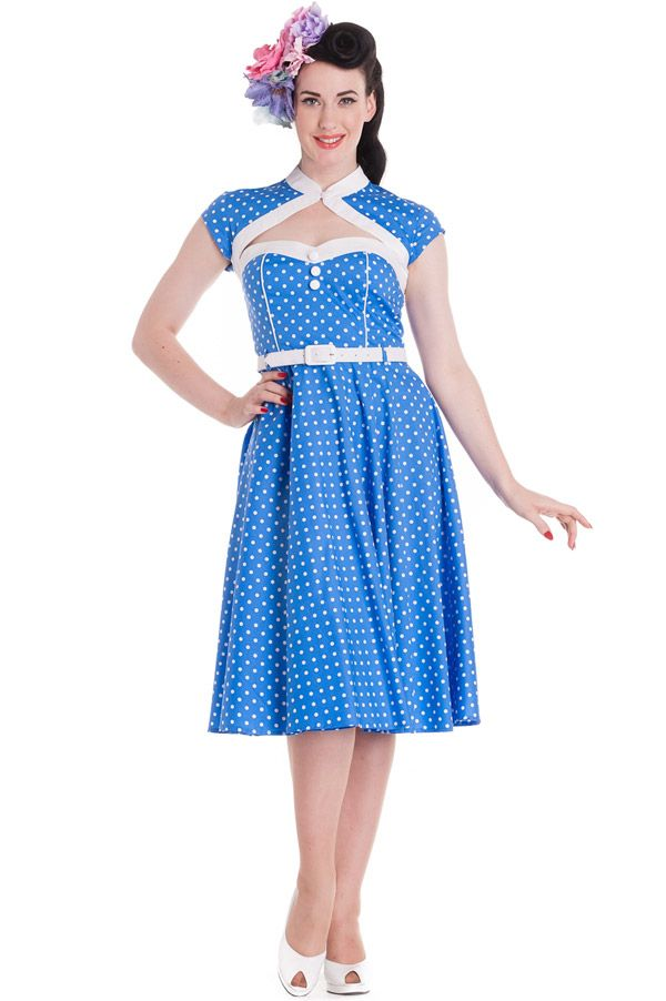 1ce73262aeaef Blue Melanie Polka Dot Dress by Hell Bunny   Polka Dots   Pinterest ...