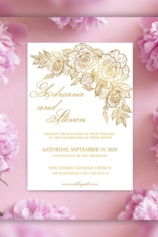 Elegant wedding invitation template minimalist wedding