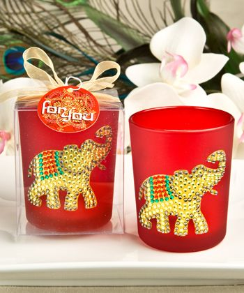 Good Luck Gold Elephant Ruby Red Votive Candle Holder Elephant