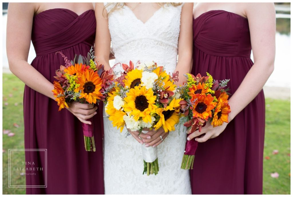 Maroon bridesmaid dresses sunflower bouquets indian for Sunflower dresses for wedding