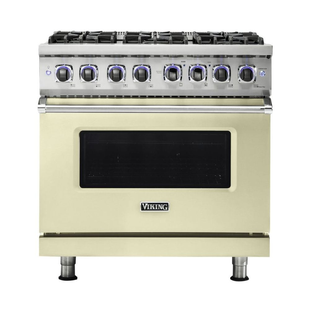 Viking Professional 7 Series 5 1 Cu Ft Freestanding Gas Convection Range Vanilla Cream In 2020 Self Cleaning Ovens Vikings Convection Cooking