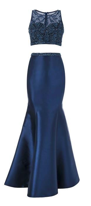 6ca486a00 Vestido longo de cetim com cropped em tule bordado. A saia sereia  proporciona um look