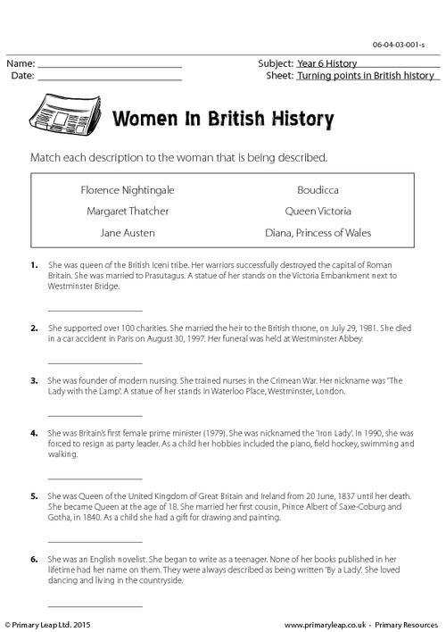 Primaryleap Co Uk Famous Women In History Worksheet Leer