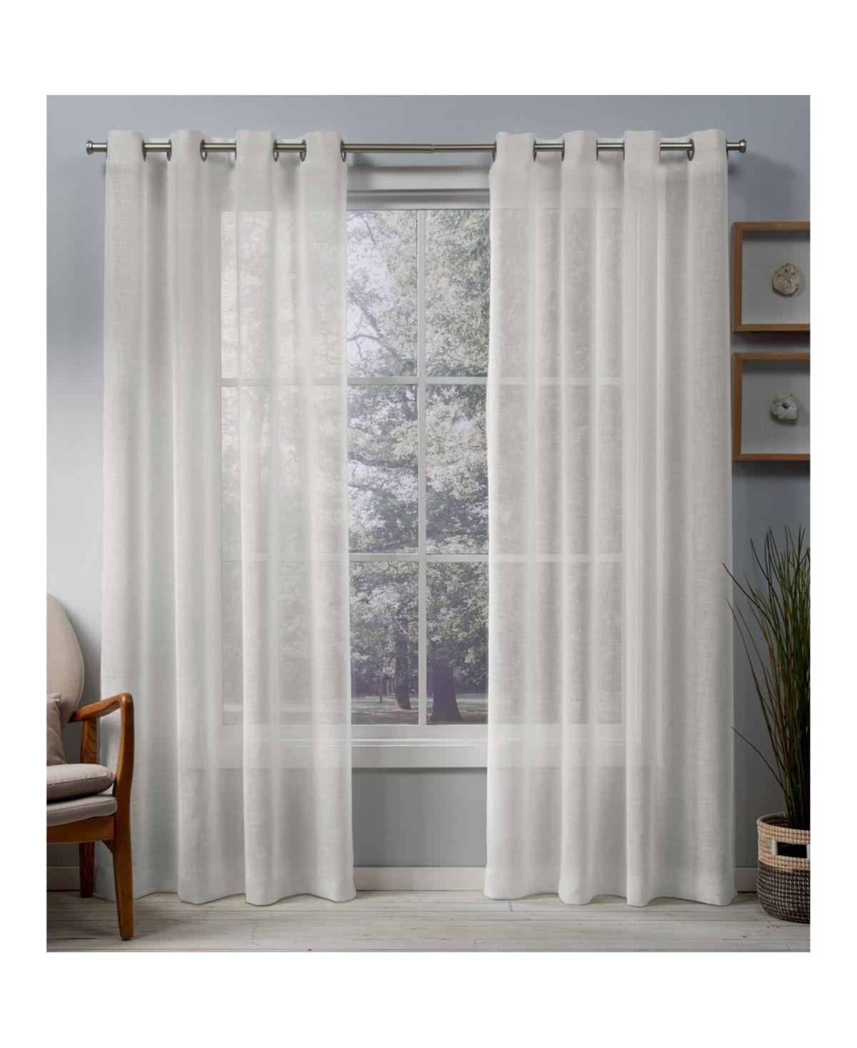 Exclusive Home Belgian Sheer Grommet Top Curtain Panel Pair 50 X