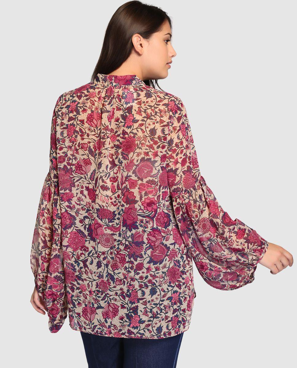 Blusa de mujer talla grande Couchel con manga larga y estampado ...