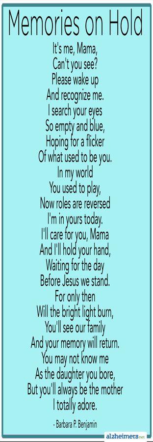 Poem: Memories on Hold by Barbara P  Benjamin | Alzheimer's
