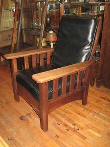Charming Arts Oak Push Button Morris Original Royal Chair Co, Black Recliner