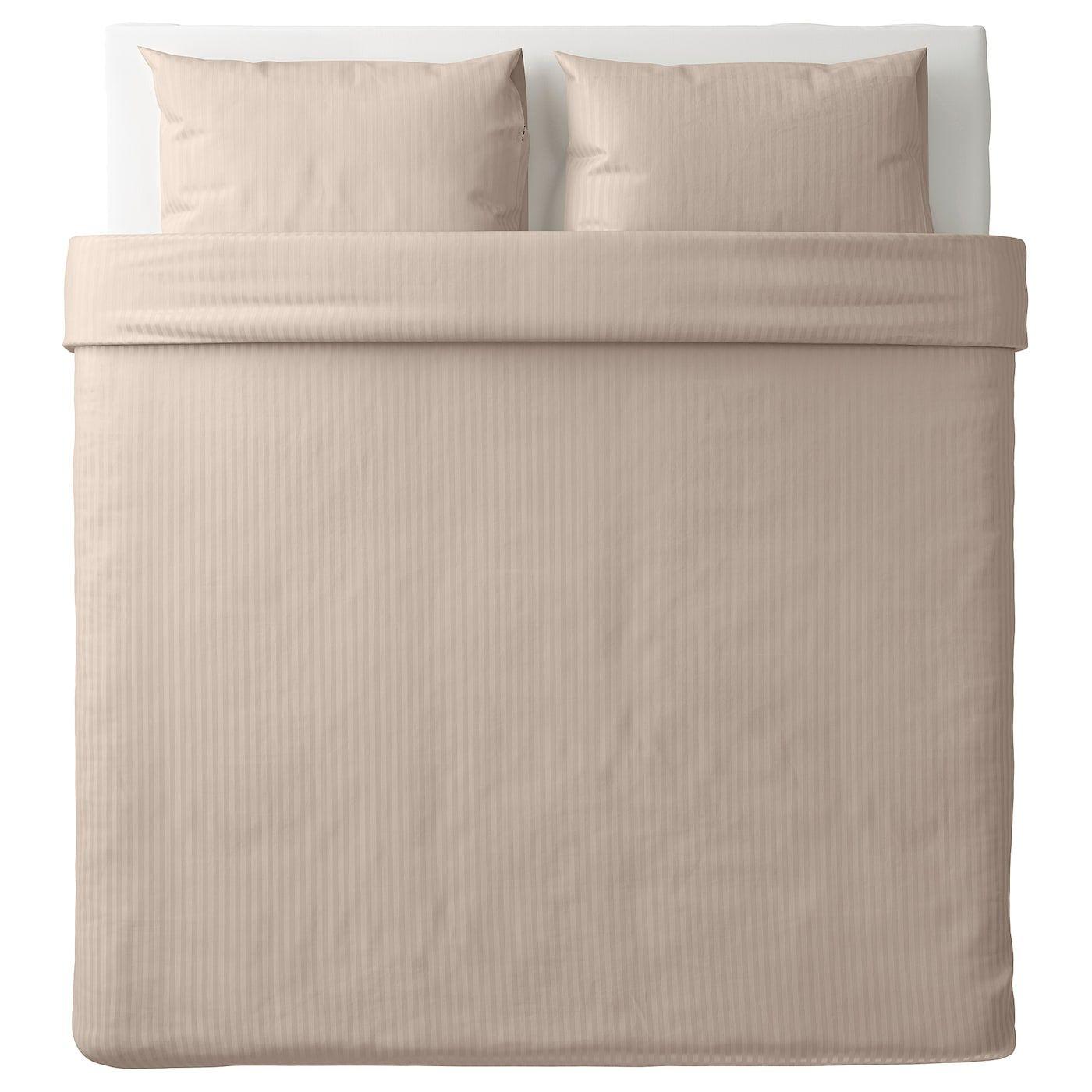 Nattjasmin Quilt Cover And 2 Pillowcases Light Beige 240x220 50x80 Cm Housse De Couette Beige Clair Et Housses