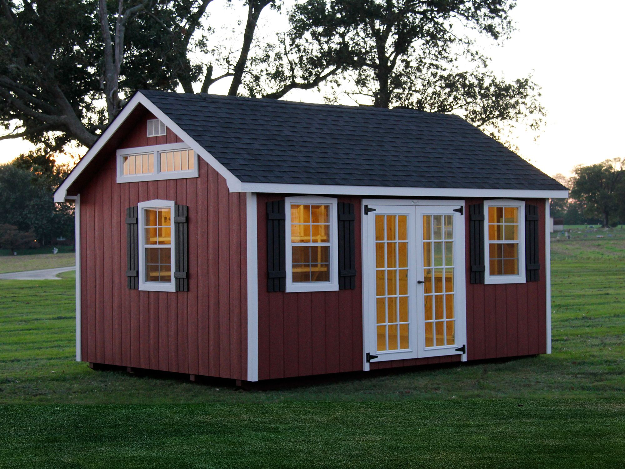 red storage shed   Lancaster Style Storage Sheds   Shed