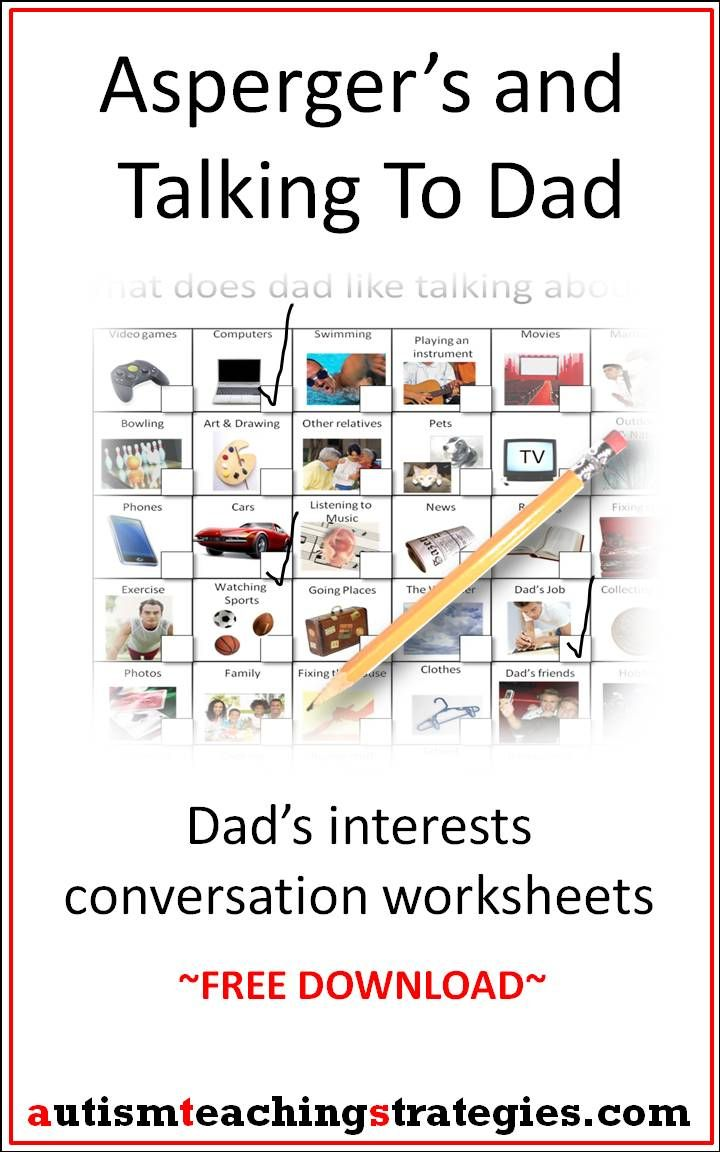 I created two simple, picture-based worksheets to help kids with Asperger's and other autism spectrum disorders to start conversations with their fathers. There is a link to a mother worksheet as well. This was pinned by pinterest.com/joelshaul/ .  Follow all our boards. Tags: Asperger's, autism, social skills, conversation. Repinned by SOS Inc. Resources.  Follow all our boards at http://pinterest.com/sostherapy  for therapy resources.