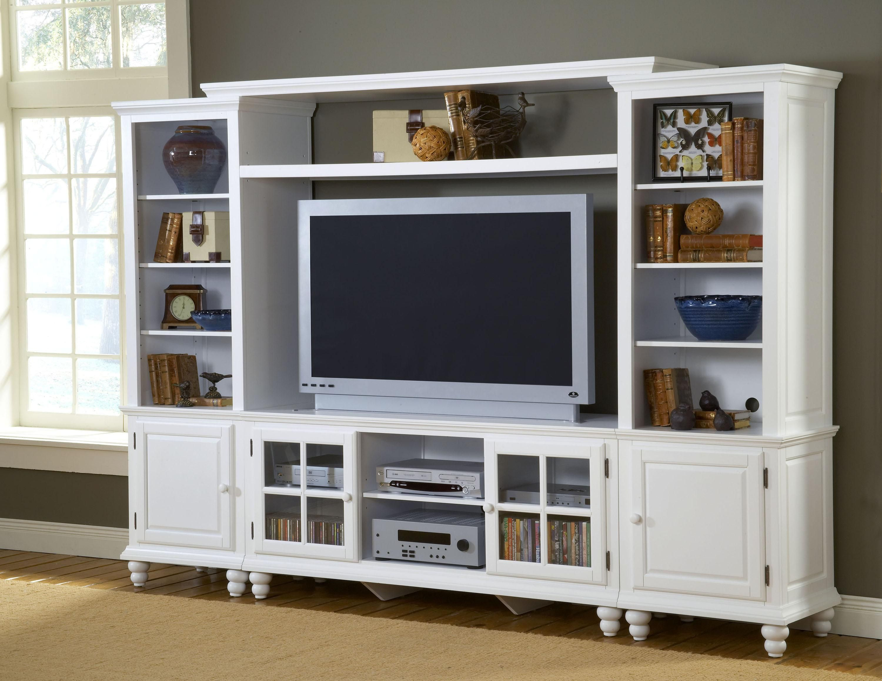 Hillsdale Furniture Grand Bay Entertainment Center With Bridge For TVs Up  To White, Wall Unit
