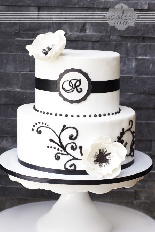 Black And White Anemone Scroll Vow Renewal Cake With Images