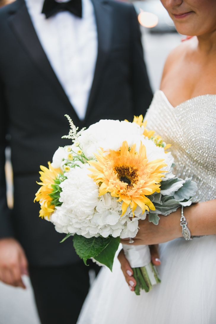 White Hydrangea And Sunflower Bridal Bouquet Sunflower Wedding