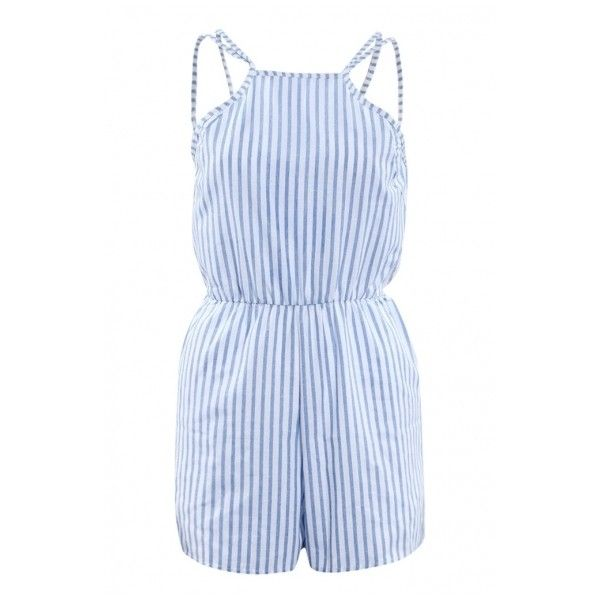 a4ba3e1acf8a Girly Striped Pattern Spaghetti Straps Gathered Waist Summer Romper ...