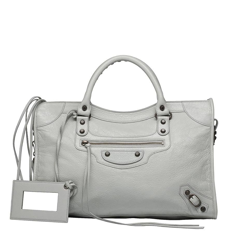 c4484259ffdb BALENCIAGA CLASSIC CITY GRIS GLACÉ Medium sized lambskin hand carry and  shoulder bag with classic hardware.