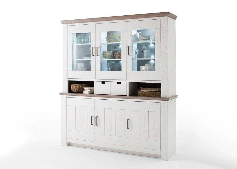 Landhaus Buffet La Palma Massiv Holz Kiefer Weiß mit Taupe 22494 - küche landhaus weiß