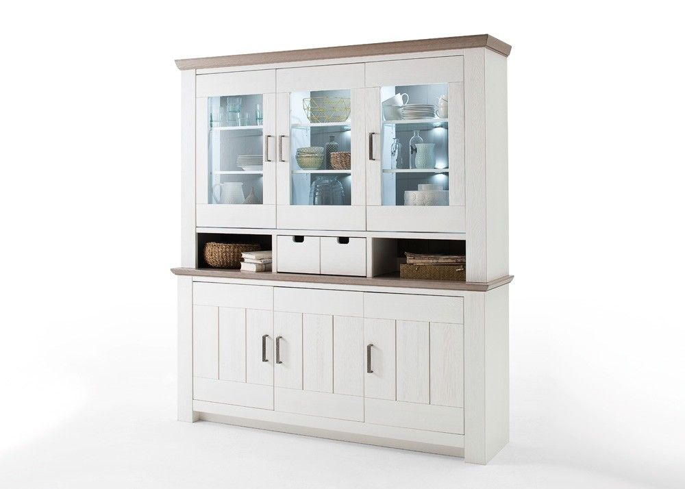 Landhaus Buffet La Palma Massiv Holz Kiefer Weiß mit Taupe 22494 - küche ikea landhaus
