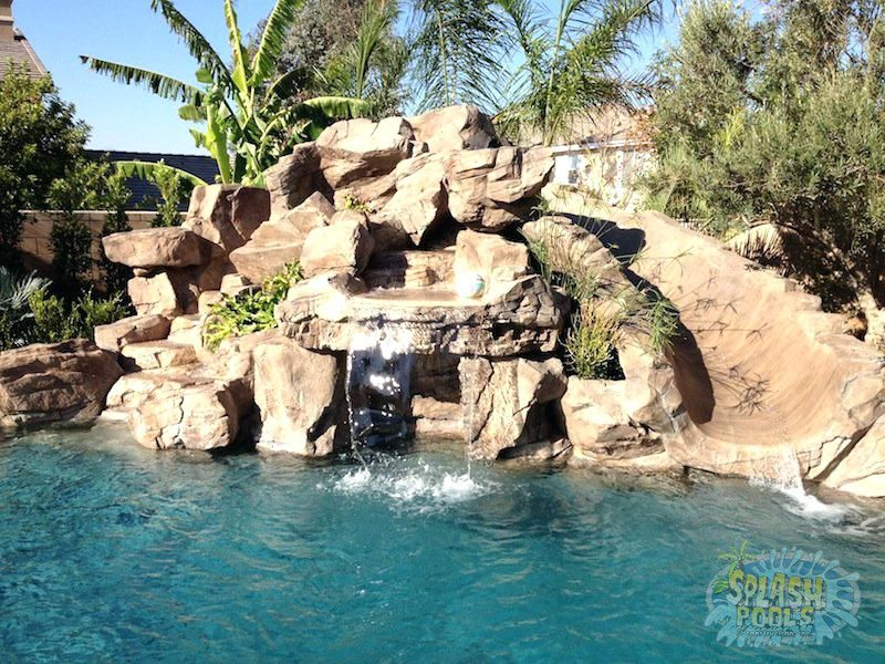 Inground Pools With Waterfalls And Slides In Custom Pool Slides For Inground Pools Rock Waterfalls Swimming