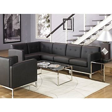 Wall Street L Shaped Sofa Set Stylish Furniture For Great Client Work Space Sofa Sofa Preto Recepcao