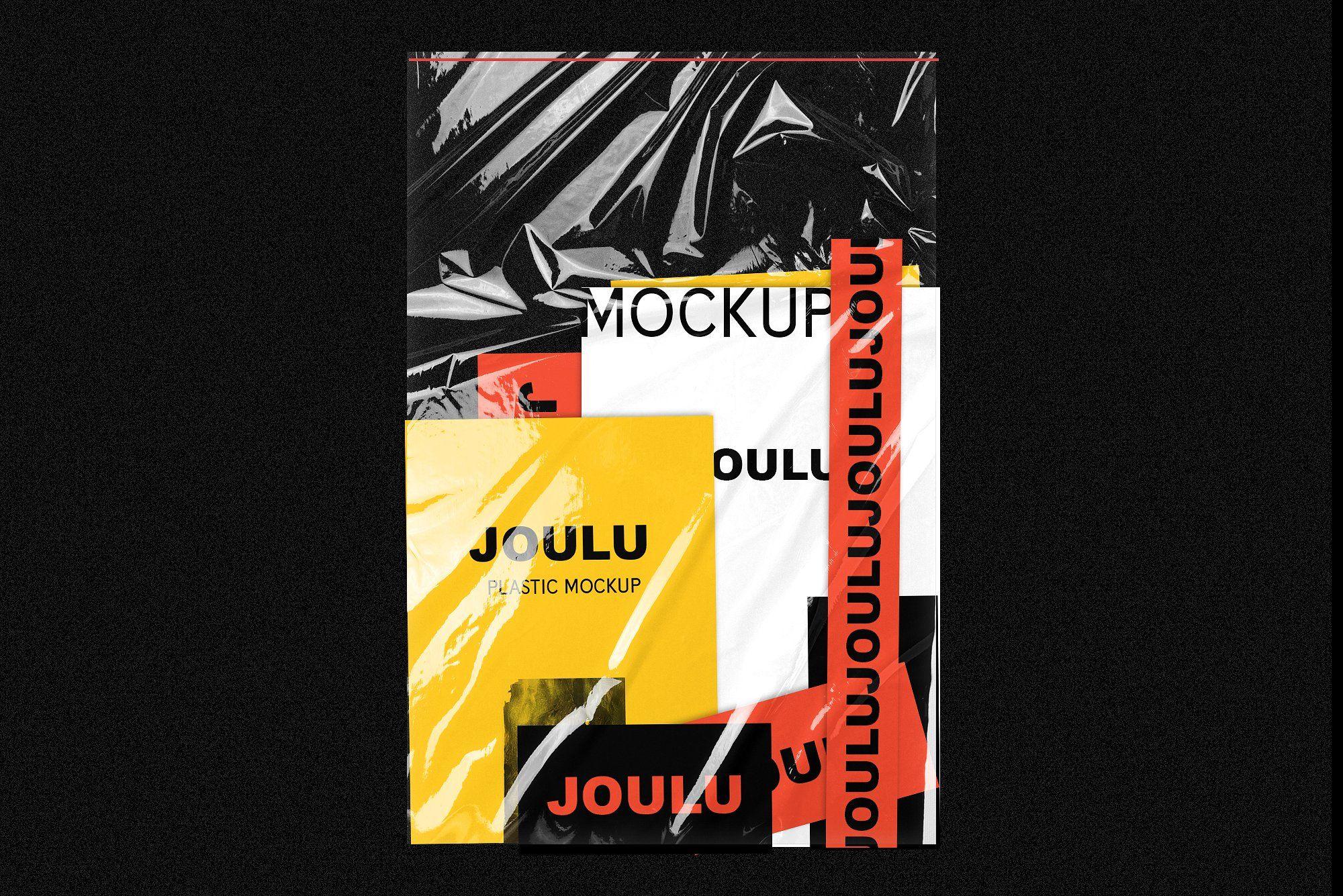 Joulu Plastic Wrinkle Mockup Stationery Mockup Plastic Texture Fashion Logo Branding
