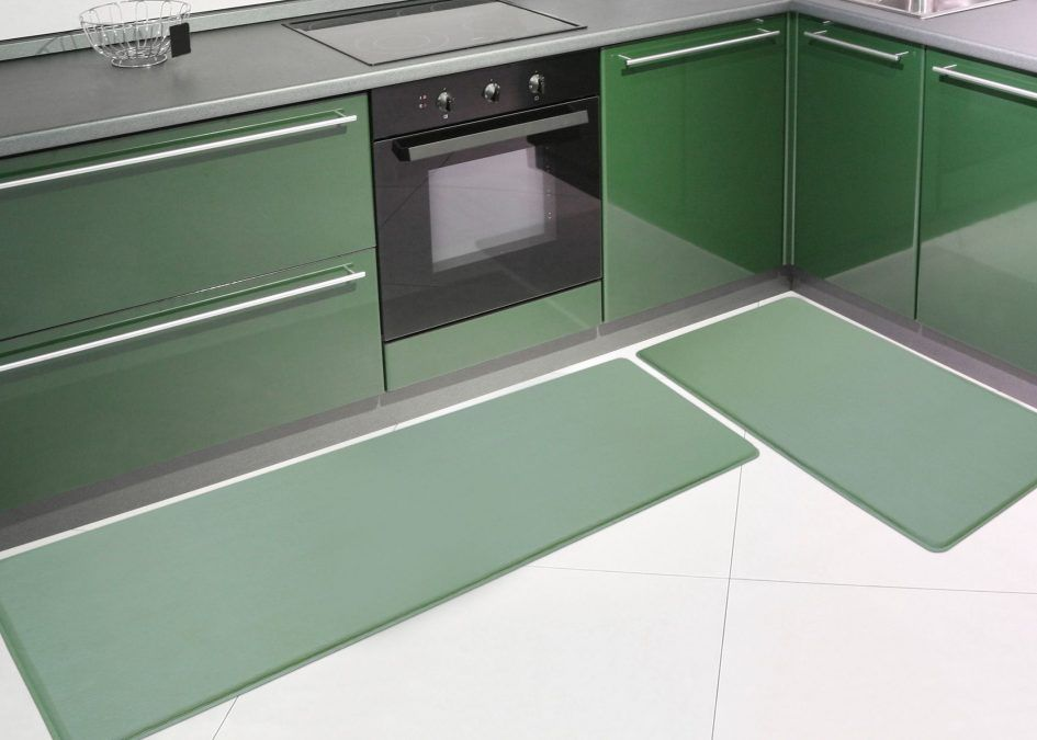 Kitchen Modern Floor Mats With Green Cabinet Above White Ceramic Design The Lication Of