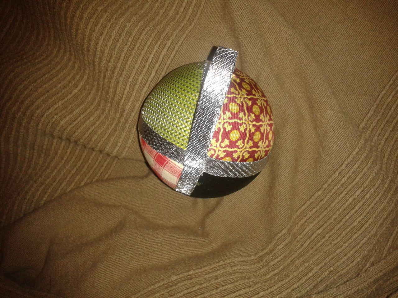 Ornament made by using several fabrics.