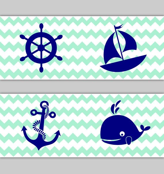 NAUTICAL NURSERY DECOR Chevron Wallpaper Border Navy Blue