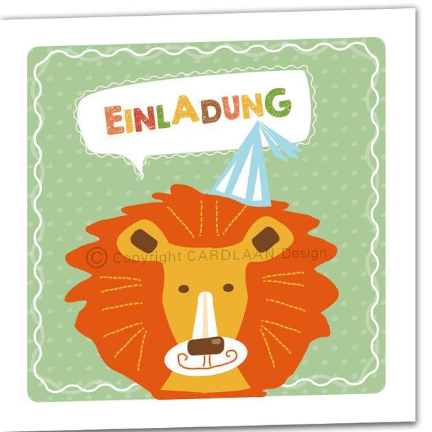 einladung kindergeburtstag klappkarte (löwe) | products, Kreative einladungen