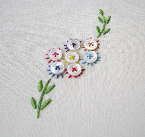 Button Flowers Embroidery