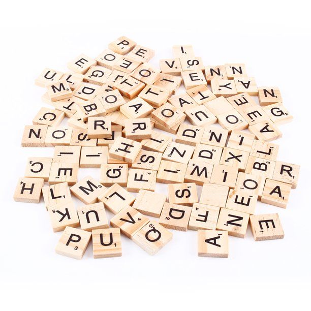 Yosoo 100pcs Tiles Letters Alphabet Wooden Pieces Numbers Pendants Spelling Black Letters With Letter Values Finished To A High Quality Light Wood Grain Smooth Wooden Scrabble Tiles Scrabble Letters Scrabble Tiles