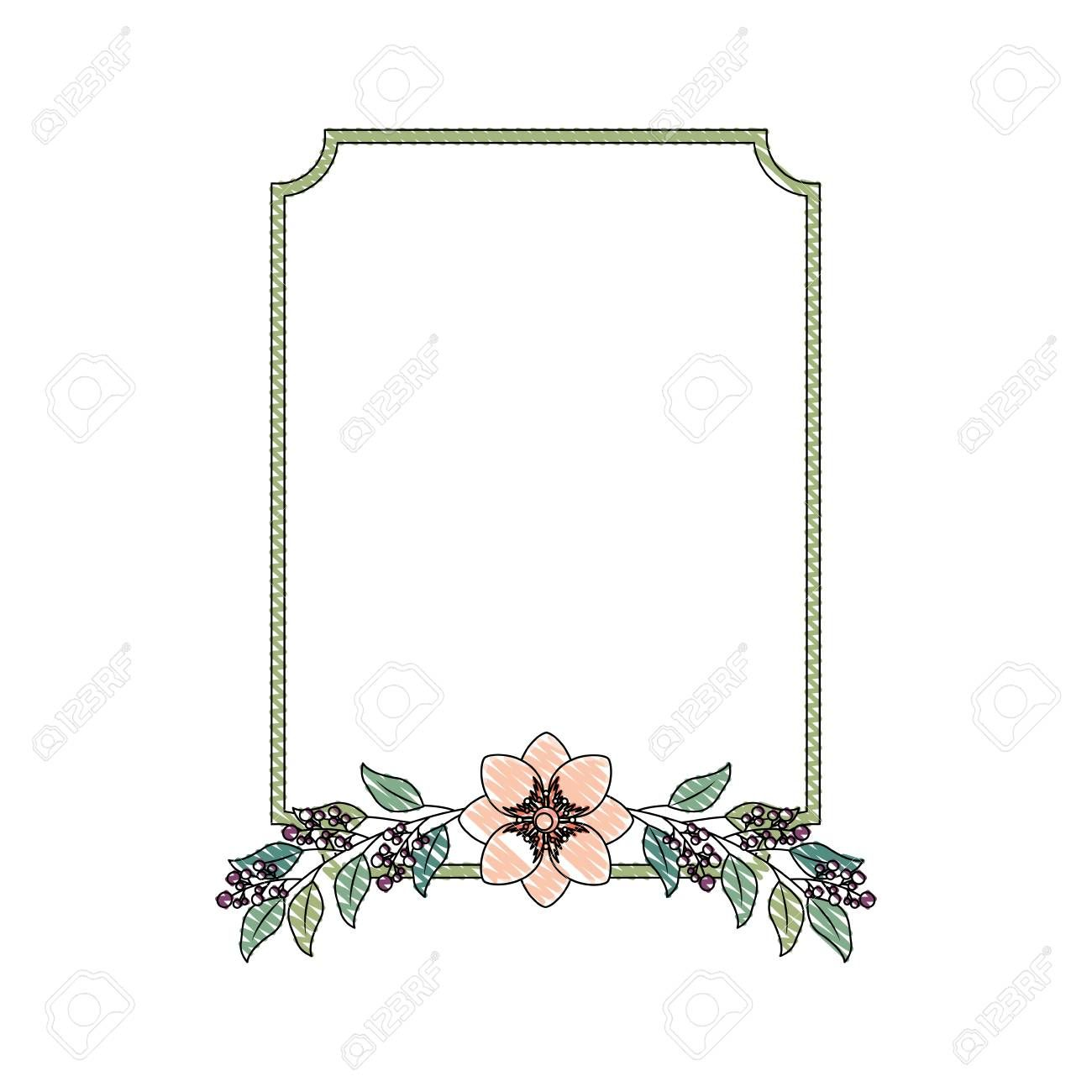 Vintage Square Frame Flower Branch Decoration Vector Illustration Drawing Ad Frame Flower Vintage Square B Branch Decor Flower Frame Flower Branch