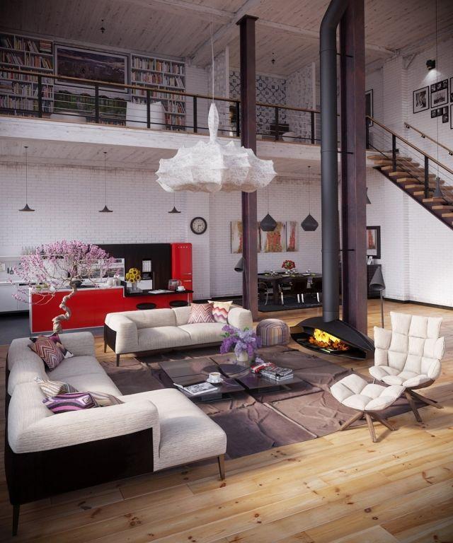 Loft Einrichtungsideen loft einrichtung hohe decke holzboden hängender kamin rote küche