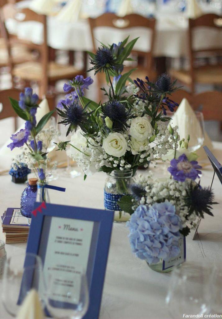 Table mariage bleu hortensias gypsophiles chardons fleurs by farandoll sol - Fleurs table mariage ...