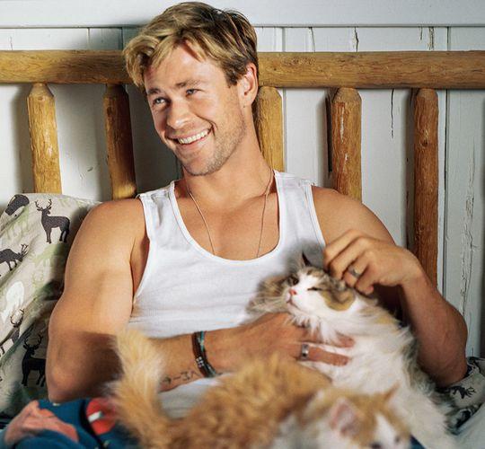 Simplyhiddleston Chris Hemsworth Hemsworth Celebrities With Cats