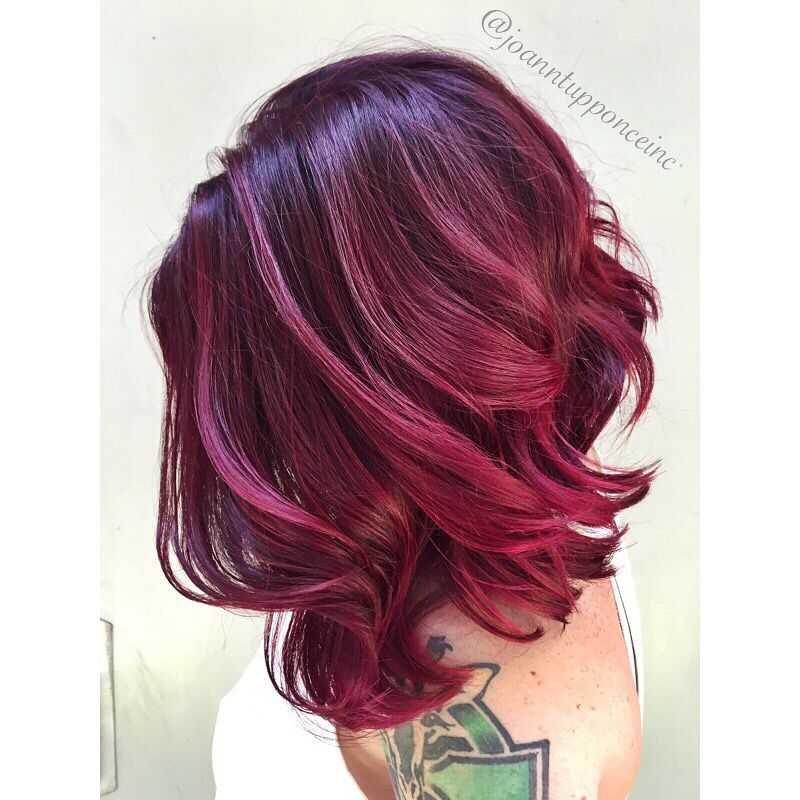 Vibrant Red Violet Using Schwarzkopf Professional Schwarzkopfpro Balayage Hair Purple Red Violet Hair Color Schwarzkopf Hair Dye