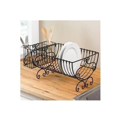 Metal Dish Rack Black Scroll Plate Cutlery Drying Kitchen Sink Counter Top  New | EBay