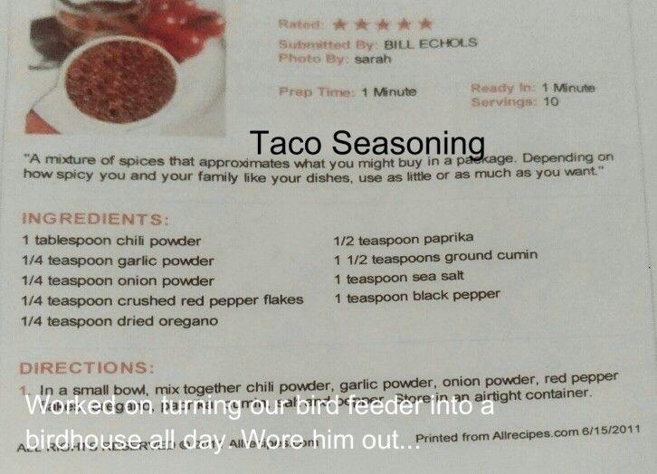 Audreys taco seasoning steak marinade recipes taco