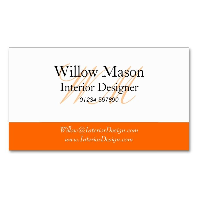 Orange white monogram business card orange and white monogram business card this is a fully customizable business card and available on several paper types for your needs you can upload your reheart Image collections