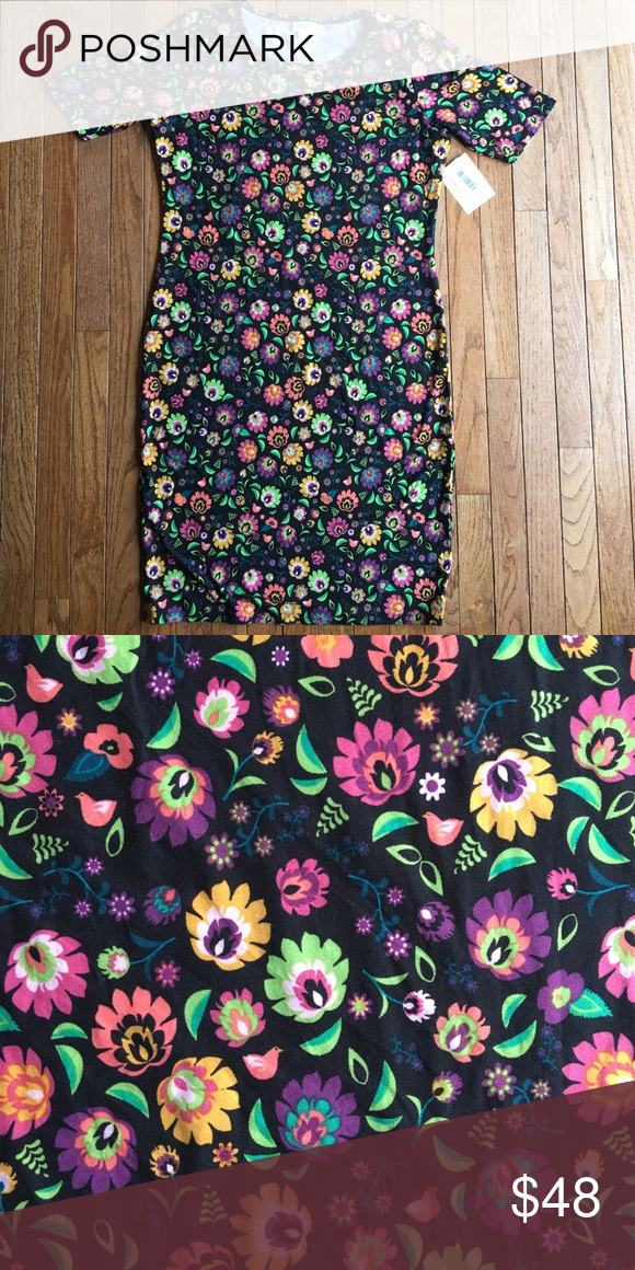 LuLaRoe Julia Black Background LEGGING MATERIAL!!! Floral Julia, Legging Material LuLaRoe Dresses