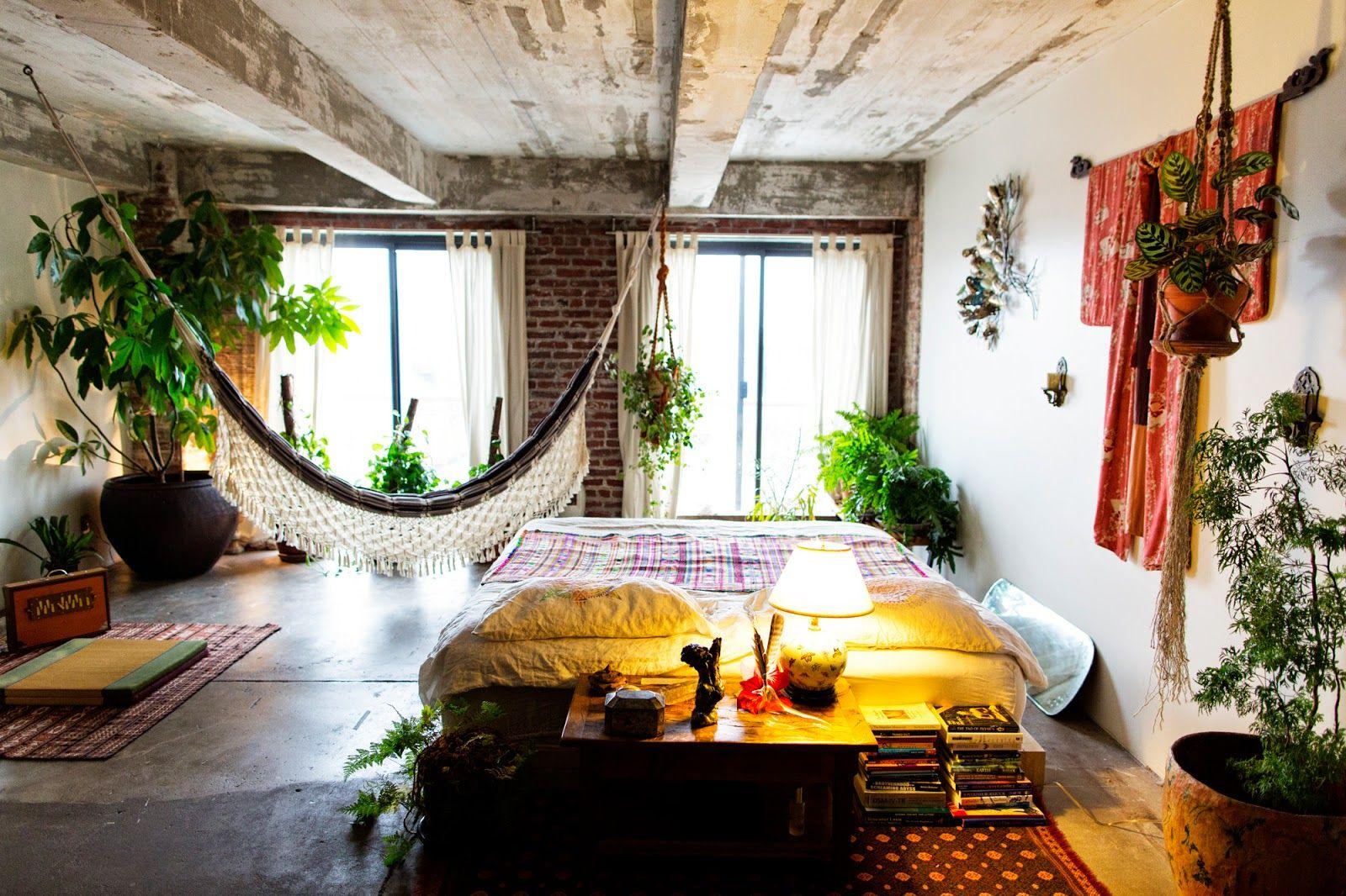 Pflanzen Schlafzimmer ~ Bohemian style als wohnstil teppiche hängematte und pflanzen