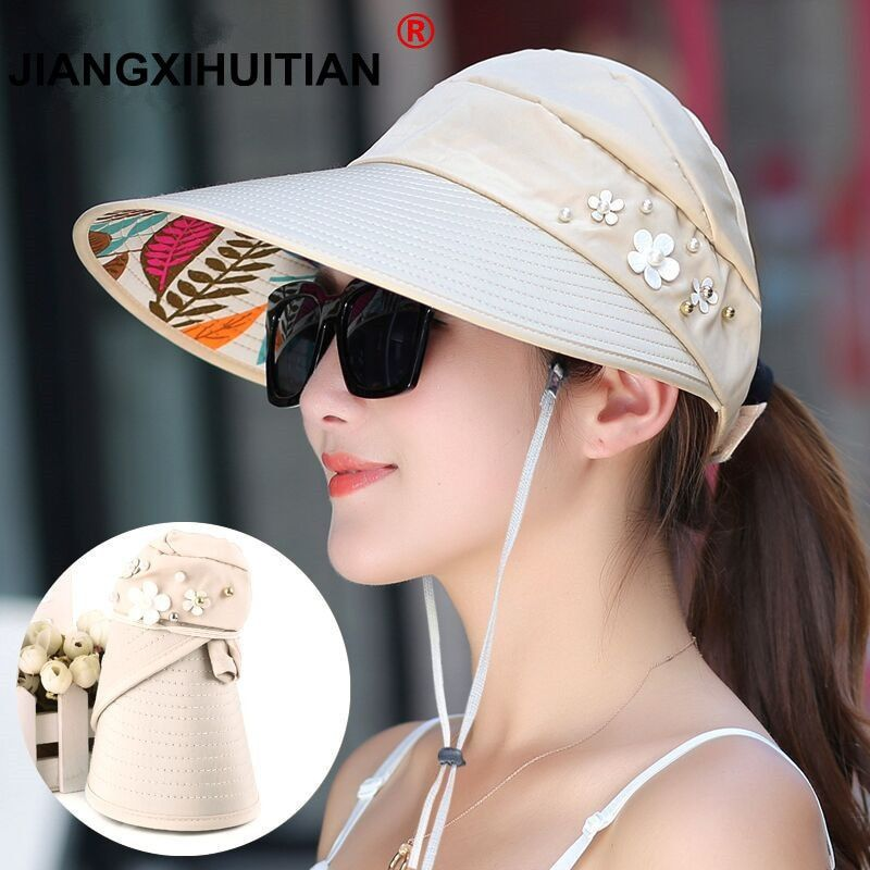 4eca794ac 2019 的 2018 Hot 1PCS women summer Sun Hats pearl packable sun visor ...