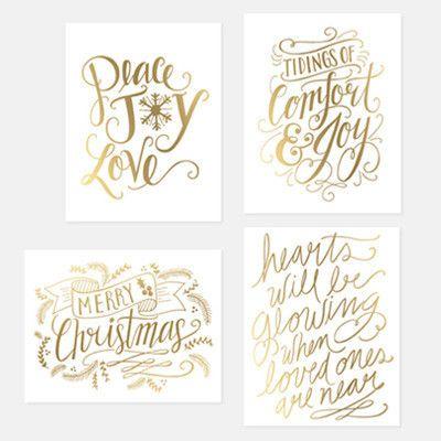 assorted gold foil holiday card set set of 8 art calligraph