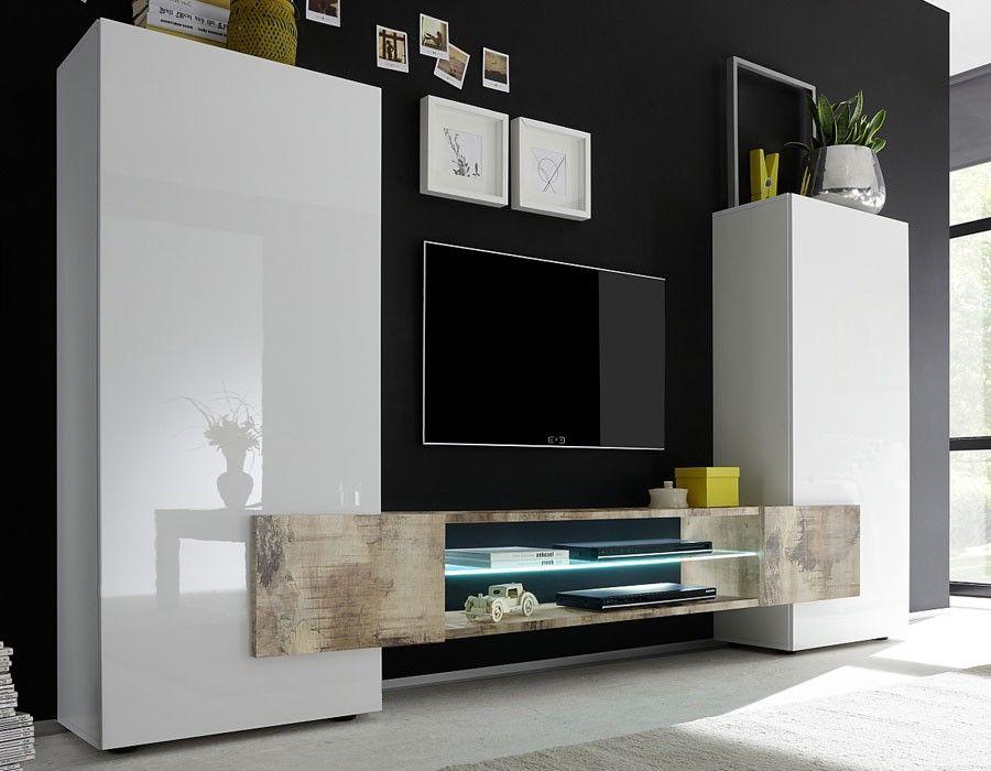 Ensemble Meuble Tv Moderne Laque Blanc Et Effet Bois Trivia 2