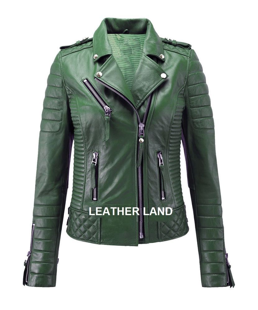62efb9646b40 New Women's Genuine Lambskin Leather Green Motorcycle Biker Leather Jacket  WJ37 #LeatherLand #Motorcycle