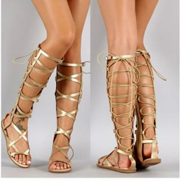 40722332c99ce New Women Gold Strappy Gladiator Knee High Tall Sandals in 2019 ...