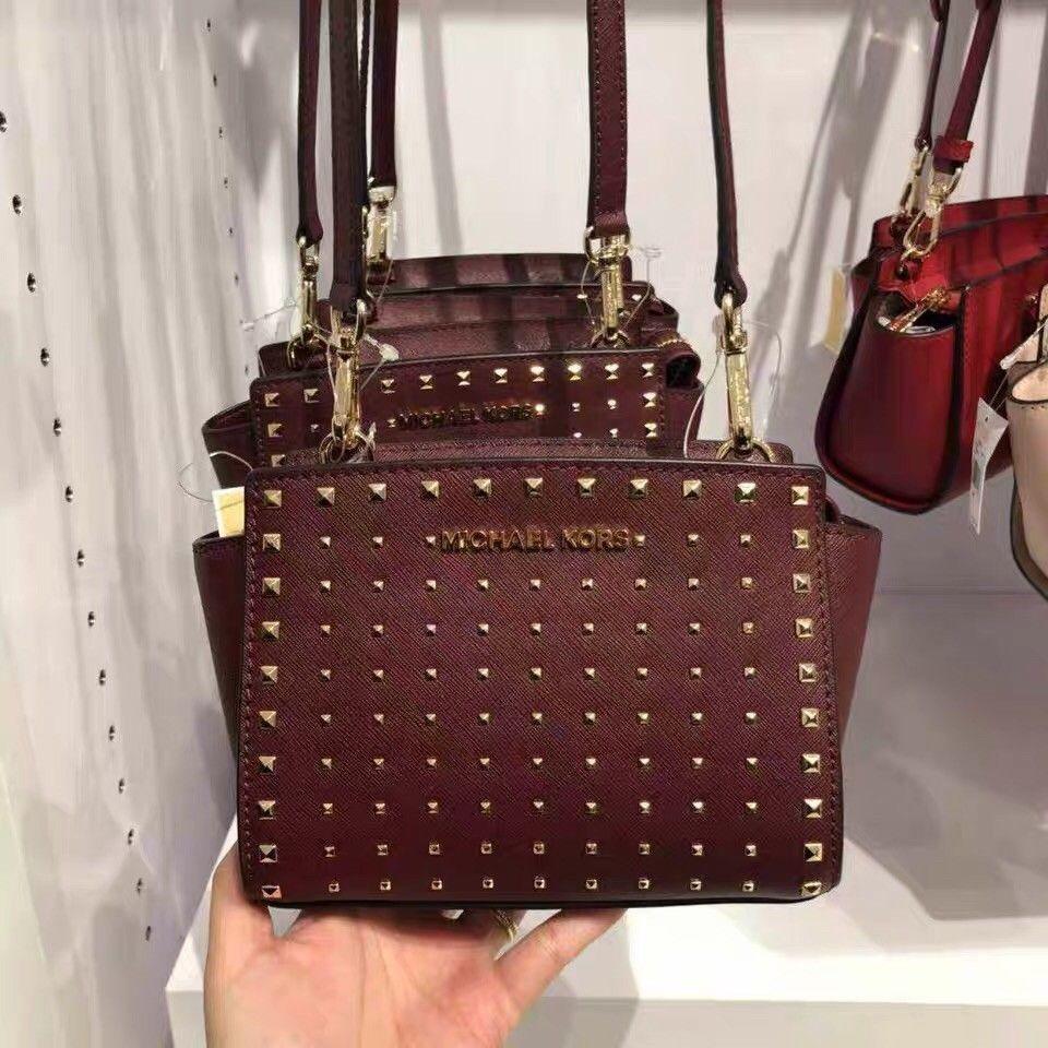 87adf90793a30e NEW Michael Kors Selma Stud Mini Leather Crossbody ( Merlot Red ...