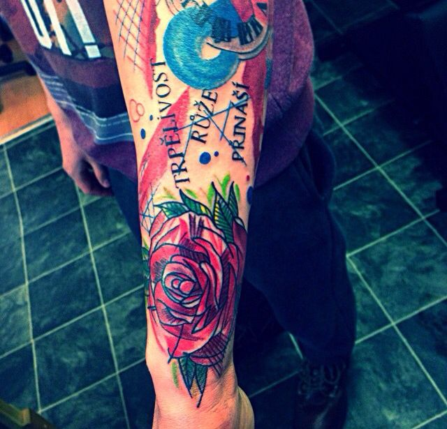Another tattoo with lovely text.  I quite like this trash polka style too.